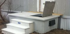 """SafePorch Storm Shelters provide """"Safety at your doorstep when seconds count"""" Great for mobile homes, tiny homes, and other homes without a basement or shelter. Porch Shelter, Manufactured Home Porch, Storm Cellar, Porch Storage, Disaster Plan, Under Decks, Storm Shelters, Home Safety, Emergency Preparedness"""