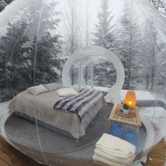 Northern lights in Iceland from a bubble hotel