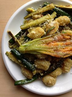 Gnocchi with Baby Zucchini, Crispy Squash Blossoms, and Lemon Brown Butter
