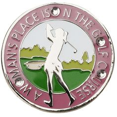 Ball Marker Clip with Swarovski Crystal and Sparkled A WOMAN'S PLACE IS ON THE GOLF COURSE Ballmarker