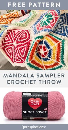 Free crochet Mandala Sampler Throw pattern using Red Heart Super Saver yarn. This throw is made with 19 hexagons sewn together, after assembly. Follow the diagrams included in the pattern. #yarnspirations #freecrochetpattern #crochetdiagrams #mandalathrow #howtocrochet #redheartsupersaver #redheartyarns #crochetthrow #crochetafghan