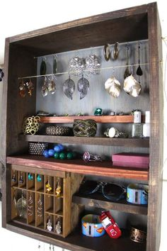 Wall Hanging Jewelry Organizer made from repurposed wood DIY