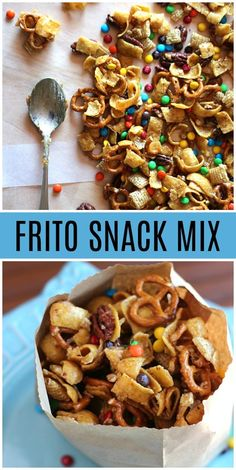 via Frito Snack Mix recipe from via Frito Snack Mix recipe from Cinnamon Sugar Sweet and Salty Chex Mix - makes great party food snack or Super Bowl food recipe. Frito Snack Mix recipe from via Praline Crunch . Trail Mix Recipes, Snack Mix Recipes, Yummy Snacks, Appetizer Recipes, Seafood Recipes, Dessert Recipes, Appetizers, Healthy Snacks, Healthy Snack Mixes