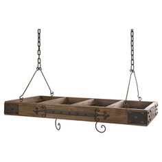 Crafted From Wood With Iron Hardware This Rustic Hanging Pot Rack Stylishly Stows Your Kitchen Essentials Product Rackconstruction Material
