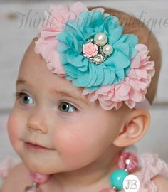 Baby headbands Baby HeadbandPink and Aqua baby por ThinkPinkBows