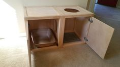 2 Cat Litter Box Cabinets, Litter and Mat w/ Top Opening, Wood, Made in USA, Choice of Stain (Many Configurations Available)