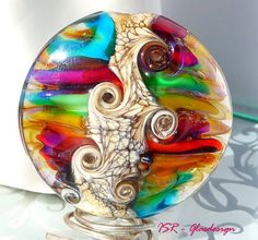 Life is wonderful  Glasmedaillon  lampwork bead  von ISRGlasdesign, $37,50