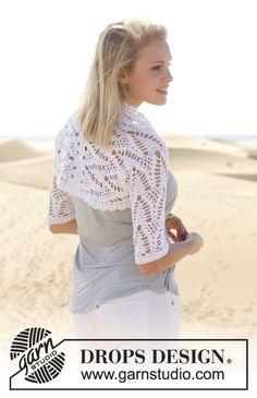 "Crochet DROPS bolero with lace pattern and double crochet in ""Safran"". Size: S - XXXL. ~ DROPS Design"