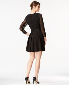 Maison Jules Samantha Bow-Detail Fit-And-Flare Dress - Dresses - Women - Macy's
