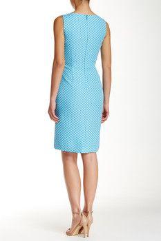 Tahari Waist Detail Sleeveless Jacquard Sheath Dress