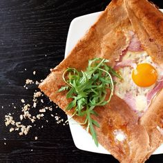 Lunch Time: Galette Complète (Buckwheat Flour Galette, Ham, Cheese, Egg and a special touch of Arugula).