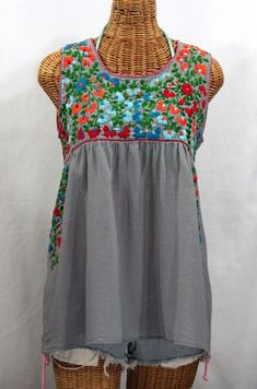 """Seriously one of our most beautiful Sirena sleeveless Mexican blouses ever! """"La Sirena"""" Sleeveless Mexican Peasant Blouse -Grey + Fiesta Embroidery. - Picmia"""