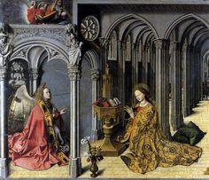 Annonciation d'Aix de Barthelémy d'Eyck (1445, Huile sur bois, 155 x 156 cm, Eglise de la Madeleine, Aix-en-Provence).
