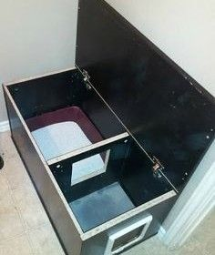 Improved Cat Box Cabinets! From a genius website called Ikea Hackers that teaches you how to convert and revamp Ikea furniture.