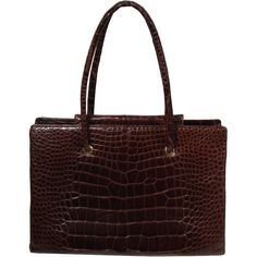 Pre-owned Judith Leiber Extra Large Chocolate Crocodile Shoulder Bag... ($4,595) ❤ liked on Polyvore featuring bags, handbags, shoulder bags, handbags and purses, structured shoulder bags, crocodile tote, purse, croc tote bag, crocodile purse and brown leather purse