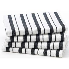 #1: Black Stripe - 4 Pack Oversized Kitchen Towel sets by Cotton Craft - Size 20x30 - Pure 100% Cotton - Crisp Basketweave striped pattern with a hanging loop - Highly absorbent, soft  sturdy - Other colors - Spice, Green, Linen, Red, Blue, Coral, Periwi.