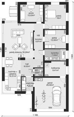 Rzut parteru projektu Dom przy Pastelowej 4 bis Building Design, Building A House, Bungalow, Plane, Sweet Home, Floor Plans, House Design, How To Plan, Interior