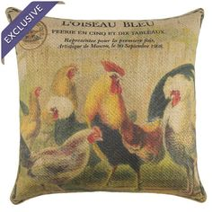 Burlap pillow with a chickens and postage stamp motif. Handmade in the USA.  Product: PillowConstruction Material: