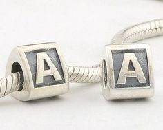 LE02-A Authentic 100% 925 Sterling Silver Letter A Beads Brand Charm 2014 Women Jewelry Fits Pandora Bracelet DIY Making