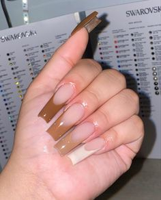 Brown Acrylic Nails, Long Square Acrylic Nails, Best Acrylic Nails, Square Nails, Brown Nails, Claw Nails, Aycrlic Nails, Bling Nails, Coffin Nails