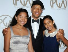 Russell Simmons with daughters Ming and Aoki