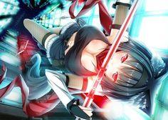 anime girl ears black hair cleavage foxgirl navel red eyes sword thighhighs Canvas Wall Poster