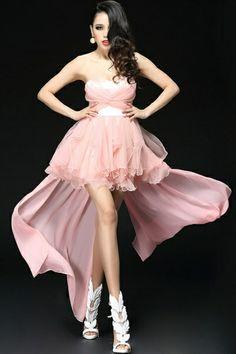 Strapless High-low Mesh Dress OASAP.com