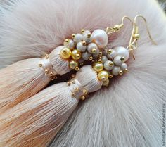 "Buy Earrings tassels ""Splendor Cream"" with freshwater pearls - earrings, hand, beige, earrings"