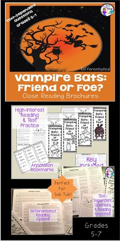 The Close Reading Vampire Bats Brochure is high-interest reading with text-dependent questions and text-dependent writing.  Perfect for seasonal reading and your sub-tub, this 10-page product offers differentiated reading options, close reading bookmarks, cover options, and keys.