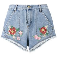 House Of Holland House of Holland x Lee flower embroidered denim... ($63) ❤ liked on Polyvore featuring shorts, bottoms, pants, short, blue shorts, short shorts, blue denim shorts, daisy print shorts and denim short shorts