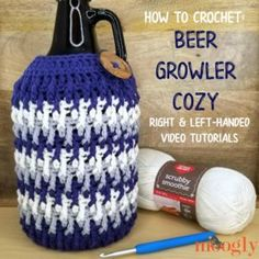 Learn how to crochet a Beer Growler Cozy in right and left-handed videos! This tutorial demos a fun, practical gift for men (and women) free on Moogly! Crochet Potholder Patterns, Free Crochet Bag, Crochet Bee, Learn To Crochet, Practical Gifts For Men, Crochet Hood, Beer Growler, Crochet Abbreviations, Gifts For Beer Lovers