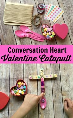 Looking for a fun activity for a Class Valentine's Day Party? Check out this Valentine's Day Conversation Heart Catapult. It's a super easy #STEM activity for home or at school! Plus you can compare conversation hearts and other candy and eat the leftovers! =)