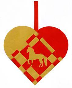 Flettet julehjerte med hest