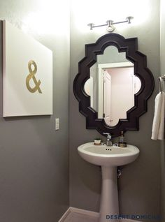 DIY Gold Leaf Ampersand #Art + Powder Room Makeover #bathroom. This is what I want to do in my powder room.