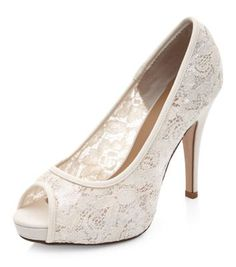 Wide Fit Cream Bridal Lace Peep Toe Heels Peep Toe Wedding Shoes 1a4ba20cc714