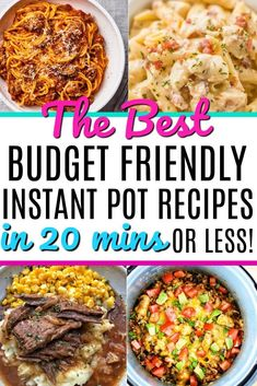The Best Budget Friendly Instant Pot Recipes In 20 Minutes O.- The best budget friendly instant pot dinners in 20 minutes or less! Take your meal plan to the next level with these super fast and easy dinners. Perfect for busy families. Fast Dinner Recipes, Fast Dinners, Cheap Dinners, Cheap Crock Pot Meals, Fast Crockpot Meals, Fast Easy Dinner, Inexpensive Meals, Fast Easy Meals, Best Instant Pot Recipe