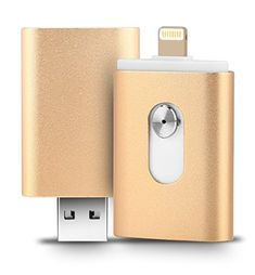 128GB iPhone USB Flash Drive, iOS Memory Stick, iPad External Storage Expansion for iOS Android PC Laptops (Gold rounded) #iPhone #Flash #Drive, #Memory #Stick, #iPad #External #Storage #Expansion #Android #Laptops #(Gold #rounded)