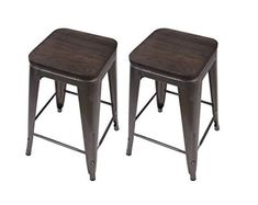 GIA Gunmetal Metal Stool with Wooden Seat(Set of - Counter Height Square Backless - Tolix Style - Weight Capacity of Pounds - Ready to use - Extra Durable and Stackable