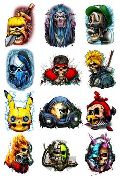 The SecondSeries for Hardcore Gamers  We did it again, we destroyed all your favorite video game characters in the second Game Over series. This time we also went after the pc and mobile gamers, nobody is safe!  Series of 12 Tattoo designs includes: Luigi Clash of Clans Street Fighter Pokemon World of Warcraft Angr