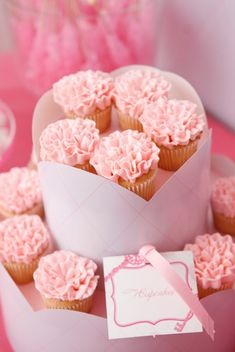 Gorgeous pink ruffle cupcakes, styled by Amy Atlas, featured on Style Me Pretty!