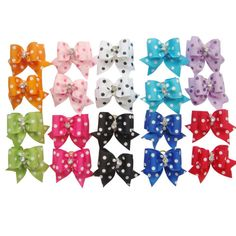 PET SHOW Dot Rhinestone Pet Dog Hair Bows W/Rubber Bands Cat Puppy Grooming Accessories Assorted Color Assorted -- You can get more details by clicking on the image.