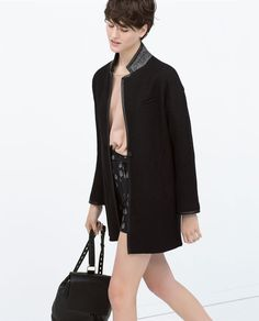 Image 4 of CONTRAST COLLAR COAT WITH LEATHER TRIM from Zara