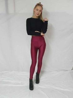 45a3159a4997d Ladies High Waisted Legging Women's Disco Shiny Wet Look Dancing Pants  Leggings #fashion #clothing