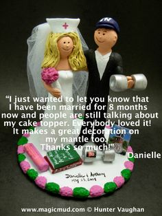 "Custom Made to Order New York Yankee's baseball Bride and Groom Wedding Cake Toppers, are the ""Real"" Icing on the Cake.      call 1 800 231 9814 Handmade to your specifications of kiln fired clay by Hunter, Lois and Jupiter Vaughan of www.magicmud.com   $235"