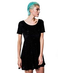 Womens Killstar Stargazer Velvet Skater Dress Black S *** Click on the image for additional details.(This is an Amazon affiliate link and I receive a commission for the sales)