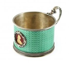 Russian silver and guilloche enamel tea glass holder (podstakannik), with cameo…