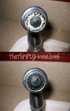 How to Remove Hard Water ~ *The Thrifty Home ... Soak paper towels in vinegar and wrap around faucets, spray vinegar to keep moist wait 20 minutes to an hour and wipe off.  You may need to scrub off the hard water & repeat if it didn't get clean enough.