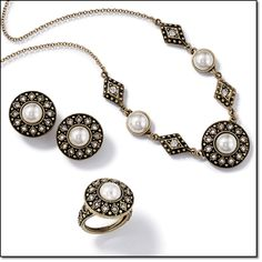 """Avon Vintage-Style Pearlesque Collection* Faux pearl with rhinestones in burnished-brass setting. Earrings*3/4"""" diam.Pierced, Clip $10.99 each Necklace*Necklaces have 3"""" or 3 1/2"""" extenders $12.99 Ring*Fits sizes 7- 8 $10.99 http://youravon.com/irmae"""