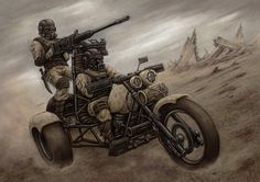 Motor wojskowy (troika) budowany i używany przez wojsko złomiarzy Nuclear Apocalypse, Apocalypse World, Apocalypse Art, Cyberpunk, Apocalypse Character, Science Fiction, Post Apocalyptic Art, Apocalyptic Movies, Steampunk