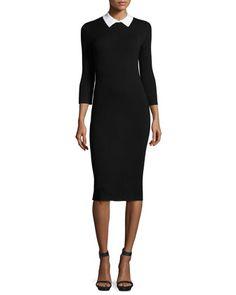 3/4-Sleeve+Collared+Sweaterdress,+Black/Whitewash+by+Trina+Turk+at+Neiman+Marcus.